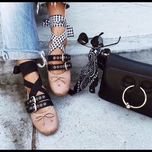 Cape Robbin Shoes - Black and crimson punk Ballet flats